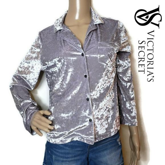 NEW Victoria Secret Crushed Velvet Velour Pajama Lounge Luxurious Top Shirt M